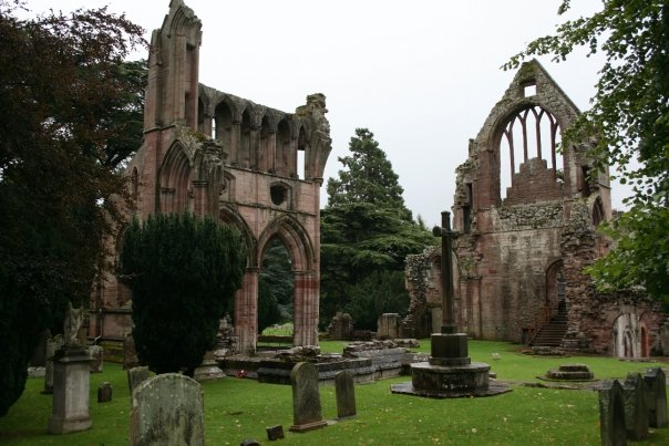 Dryburgh Abbey, Scotland, former home to the Premonstratensian order of canons/priests. Though now in ruins, the building and grounds were awe-inspiring  and eerie to visit.