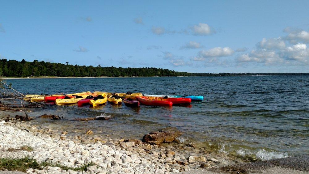 Kayaks on Lake Michigan.