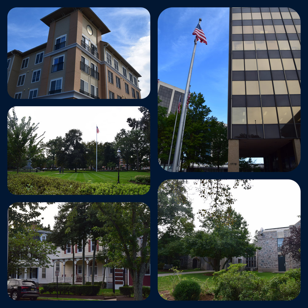 Inspiration for  Learning to Love  (clockwise): Adam's apartment, Adam's office, the Morristown library, Dina's apartment, the Morristown village green.
