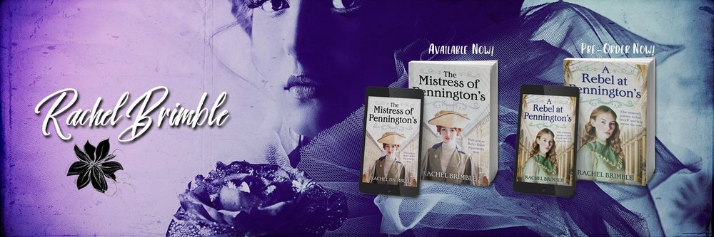 Rachel's latest release is The Mistress of Pennington's (book 1 in the Pennington's Department Store series).  Amazon UK  ~  Amazon US  ~  Barnes and Noble  ~  Kobo  ~  Google Play  ~  Apple