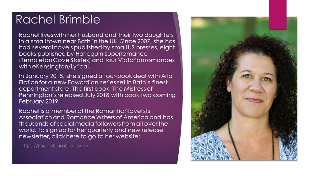 Find Rachel:  Blog  ~  Twitter  ~  Facebook  ~  Instagram  ~  Amazon Author Page  ~  Goodreads  ~  Bookbub