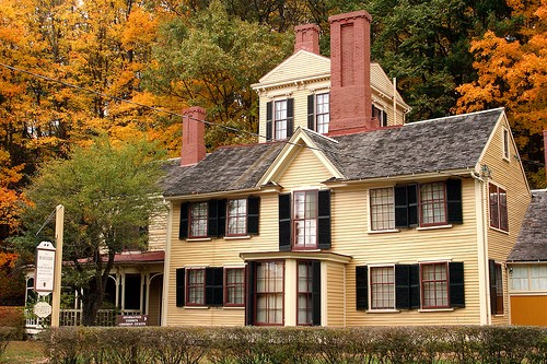 The Wayside, the only home the Hawthornes ever owned, in Concord, MA. Nathaniel added that room at the top for his writing studio.