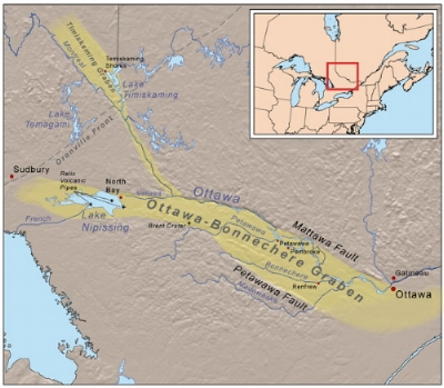 Figure 2: The geographic extent of the Ottawa - Bonnechere graben or rift valley extends about 700 km from the area near Montreal, west to the area near Sudbury. Image from from:  https://en.wikipedia.org/wiki/Ottawa-Bonnechere_Graben