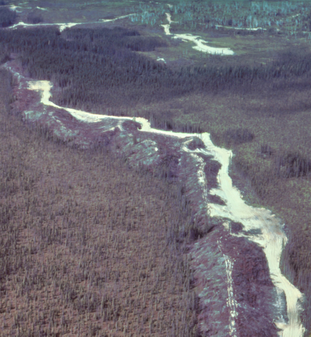 Figure 5: An esker south of Timmins, Ontario, is being used as a source of road construction material. Photo by Cam Baker, formerly of Ontario Geological Survey.