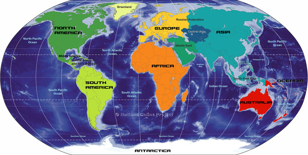 Figure 1: The location of the present day location of the continents that make up the earth. Image from:  One World - Nations Online .