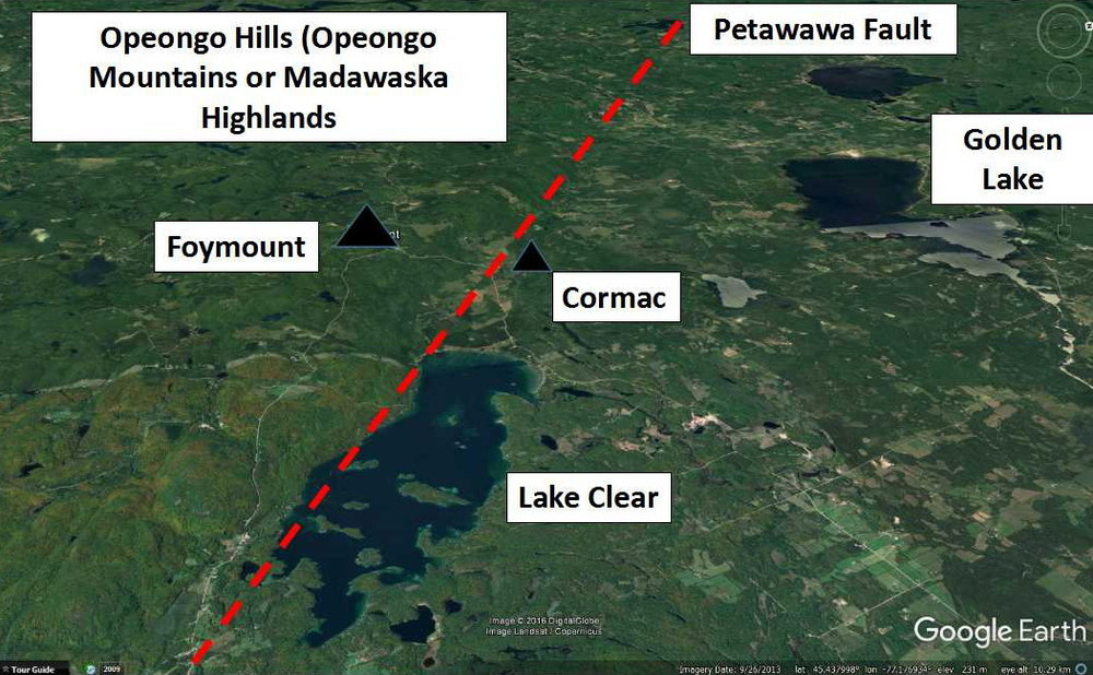 Figure 11: Looking to the west, the red line represents the trace of the Petawawa Fault, which is the southern boundary of the Ottawa - Bonnechere Graben. Image is a modified image from Google Earth.