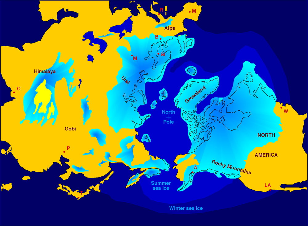 Figure 2: The blue areas show the distribution of ice sheets that covered the northern parts of North America, Europe and Asia at the peak of the last ice age, about 25,000 years ago. This was called the  Last Glacial Maximum . At this time, ice sheets, also called glaciers, covered almost all of Canada, with the exception of a small area in Yukon. The ice sheet was about 3 km thick at its maximum. With the creation of these thick ice sheets, the level of the ocean dropped about 120 m. Image from:  https://en.wikipedia.org/wiki/Quaternary_glaciation