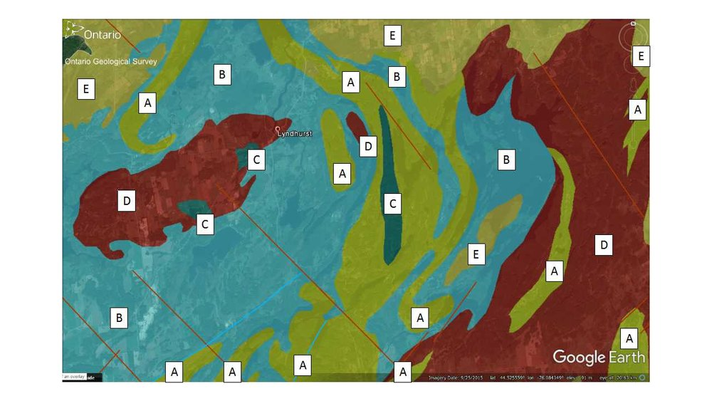 Figure 5: Rock geology of the Lyndhurst bridge area. Geologists use different colours to represent different rock types. Here is the explanation of the colours: Very old rocks (Grenville Province - greater than 1 billion years old): A: Sedimentary rocks made up from broken and weathered pieces of older rock (Clastic metasedimentary rocks consisting of conglomerate, quartz arenite, arkose, limestone, siltstone, chert, minor iron formation of the Grenville Supergroup and Flinton Group); B:Limy dolomite and limestone rocks that formed on the bottom of a warm tropical ocean (Carbonate metasedimentary rocks.Marble, calc-silicate rocks, skarn, tectonic breccias.Grenville Supergroup and Flinton Group); C: Dark coloured iron- and magnesium-rich rock that formed by cooling, below the surface of the Earth, of partially melted pre-existing rock (Mafic to ultramafic plutonic rocks;Diorite, gabbro, peridotite, pyroxenite, anorthosite, derived metamorphic rocks); D: Light-coloured, sometimes red in colour, rock that formed by cooling, below the surface of the Earth, of partially melted pre-existing rock (Late felsic plutonic rocks.Granitic gneisses with metasedimentary xenoliths, migmatites, injection gneisses, pegmatites); and Younger rock that is about 500 million years old:  Sedimentary rocks made up from broken and weathered pieces of older rock  (Conglomerate, sandstone, shale, dolostone.Potsdam Group; Nepean Formation; Covey Hill Formation). The geology map comes from the Ontario Geological Survey using their  OGS Earth  online database.