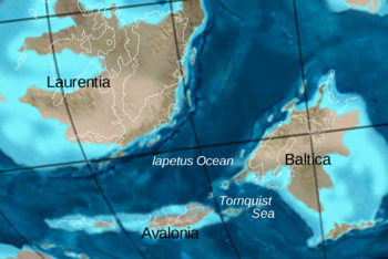 Figure 9: The Iapetus Ocean is the ancestor to the Atlantic Ocean. It formed when continents began to break apart and drift around due to continental drift. The Continent named Laurentia was the ancestor to North America. The Iapetus Ocean closed up as the Baltica and Avalonia microcontinents and the Taconic Volcanic Island Arc islands drifted northward to collide with Laurasia.