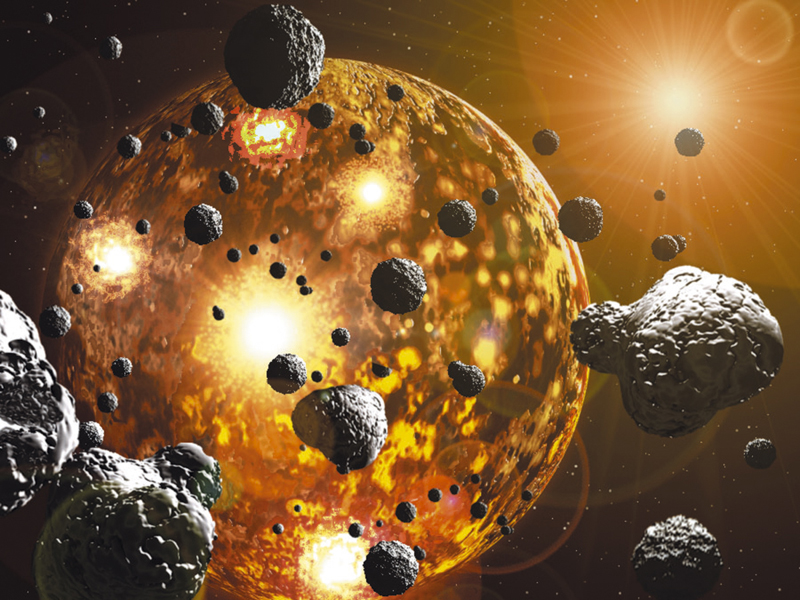 Figure 4: An illustration of the collision of small to large pieces of left-over space material, which built the Earth. The release of heat energy related to the collisions, and decay of radioactive elements, heated up the growing Earth to the point where it melted. Image from Discover Magazine: http://discovermagazine.com/2014/julyaug/13-journeys-to-the-center-of-the-earth