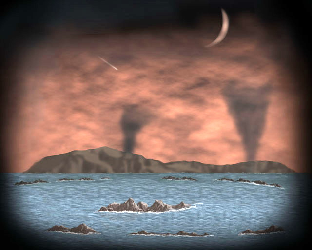 Figure 6: This cartoon illustrates the appearance of volcanoes that punched through the early thin crust of the Earth. The volcanoes spewed gases, including carbon dioxide and water vapour, into the atmosphere. Eventually, the water vapor condensed to form part of Earth's oceans. Image from:  https://www.lpi.usra.edu/education/timeline/gallery/slide_17.html