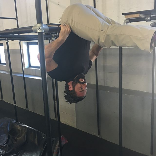 Adults can have fun too! Come by and try our adult classes and unleash your inner child. #parkour #fun #allages #parkour #gym #barlife