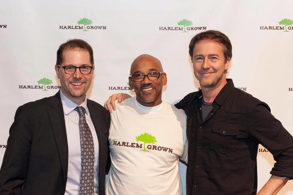Council Member Mark Levine, Harlem Grown Founder & Executive Director Tony Hillery, and Actor, Social Entrepreneur & Harlem Grown Board Member Edward Norton at the 2016 Harlem Grown Gala.