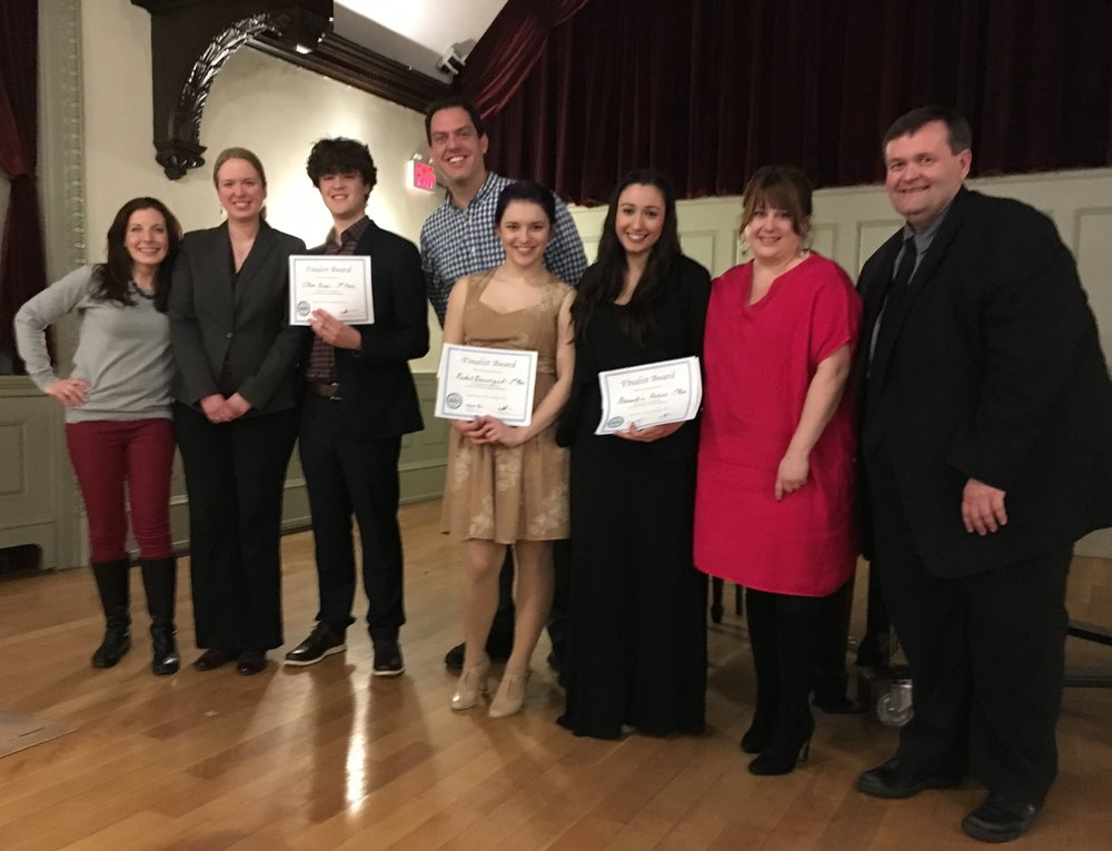 The Dean College team after NATS Boston 2017 L to R: J.Sgroe, E.Kendrick, E.Krauss - 3rd Place, J. Petersen, R. Beauregard - 2nd Place, L. Hassan - 1st Place, A. Del Santo, Jim Hay, pianist.