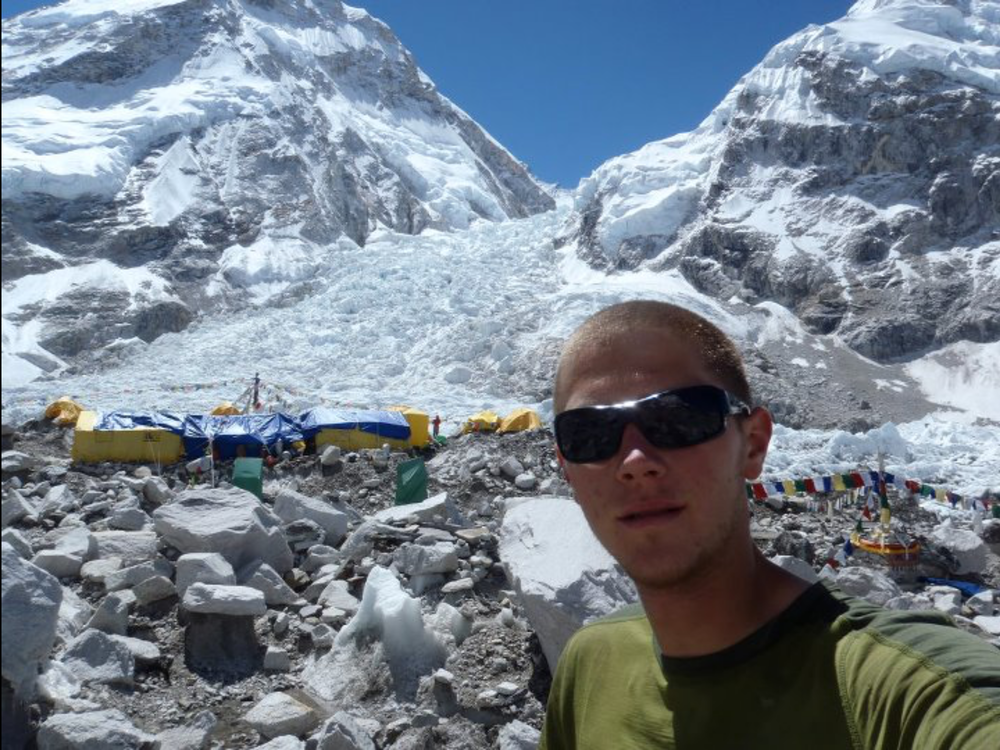Everest Base Camp (5360m), behind me is the route that most mountaineers take when attempting to summit the worlds highest mountain.
