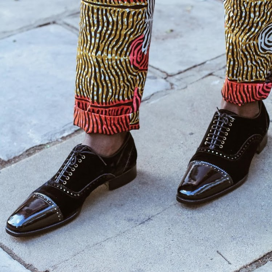 The Soboye man wears African-Dutch wax and Italian made footwear