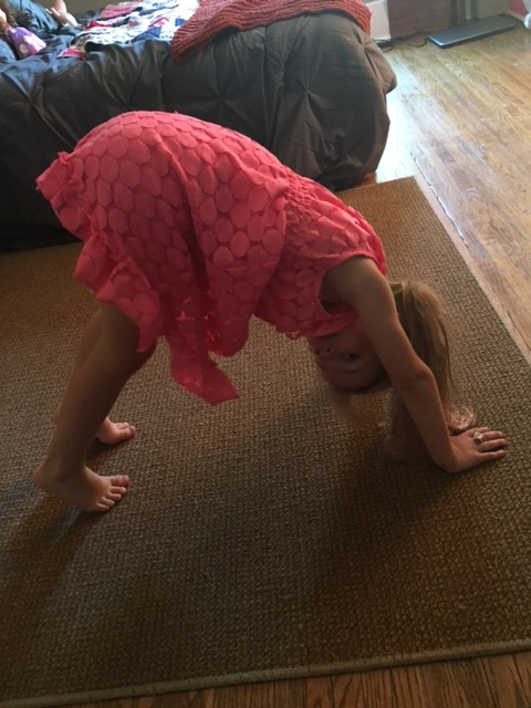 Downward-Facing Dog - This pose increases the flow of oxygen to the brain and energizes the mind and body. Being upside down also allows kids to see the world in a different way, which helps them get a new perspective on a situation. Helpful to practice when kids are feeling