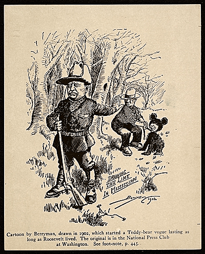 "Image courtesy of the Smithsonian ""Archives of American Art"" - 1944 photograph of the original cartoon ""Drawing the line in Mississippi"" by Clifford Berryman, 1902."
