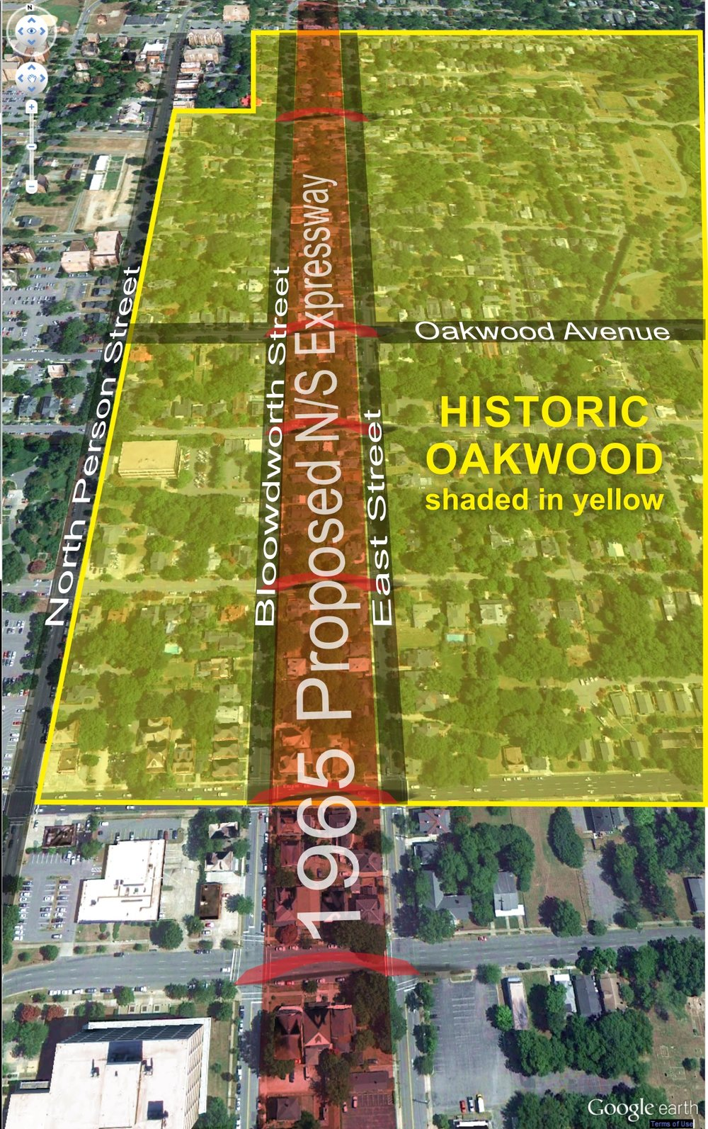 Proposed North-South Expressway that would have cut through the heart of the now Oakwood Historic District.