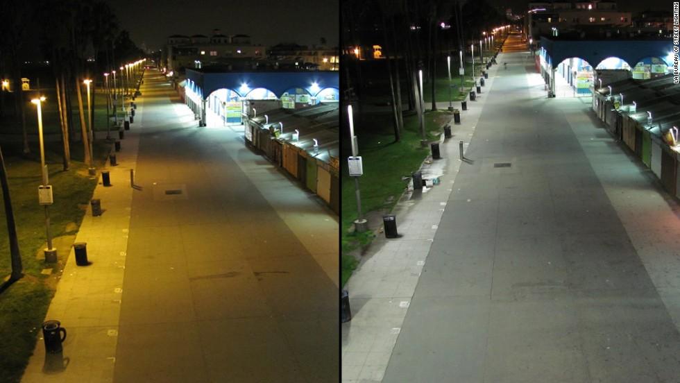 Image comparing warm sodium vapor street lights to cool white LED lights.  source: cnn.com