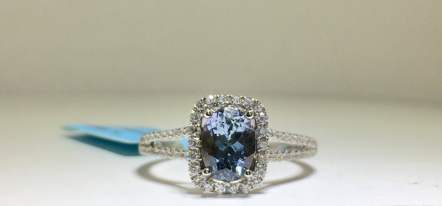 blue rose oval cut green tanzanite peacock gold engagement ring media
