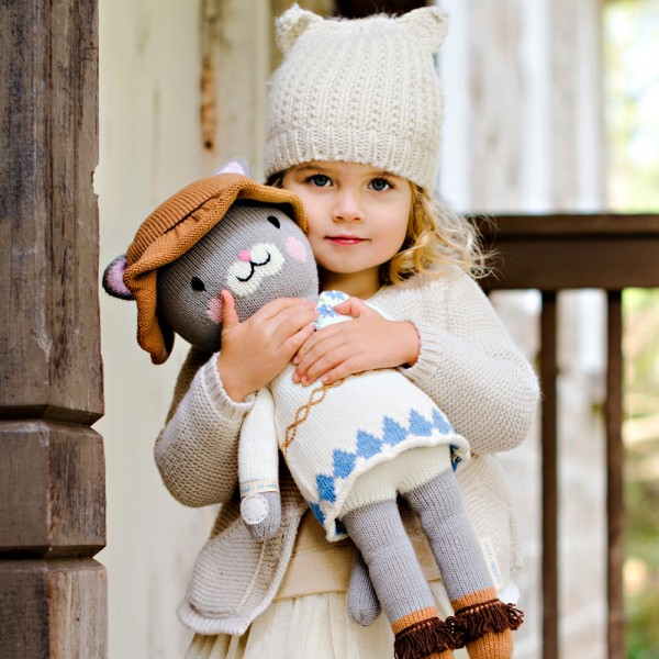 "Your little one is sure to adore the ruffled hat on Chelsea the Cat. 13"" doll: $45. 20"" doll: $65."