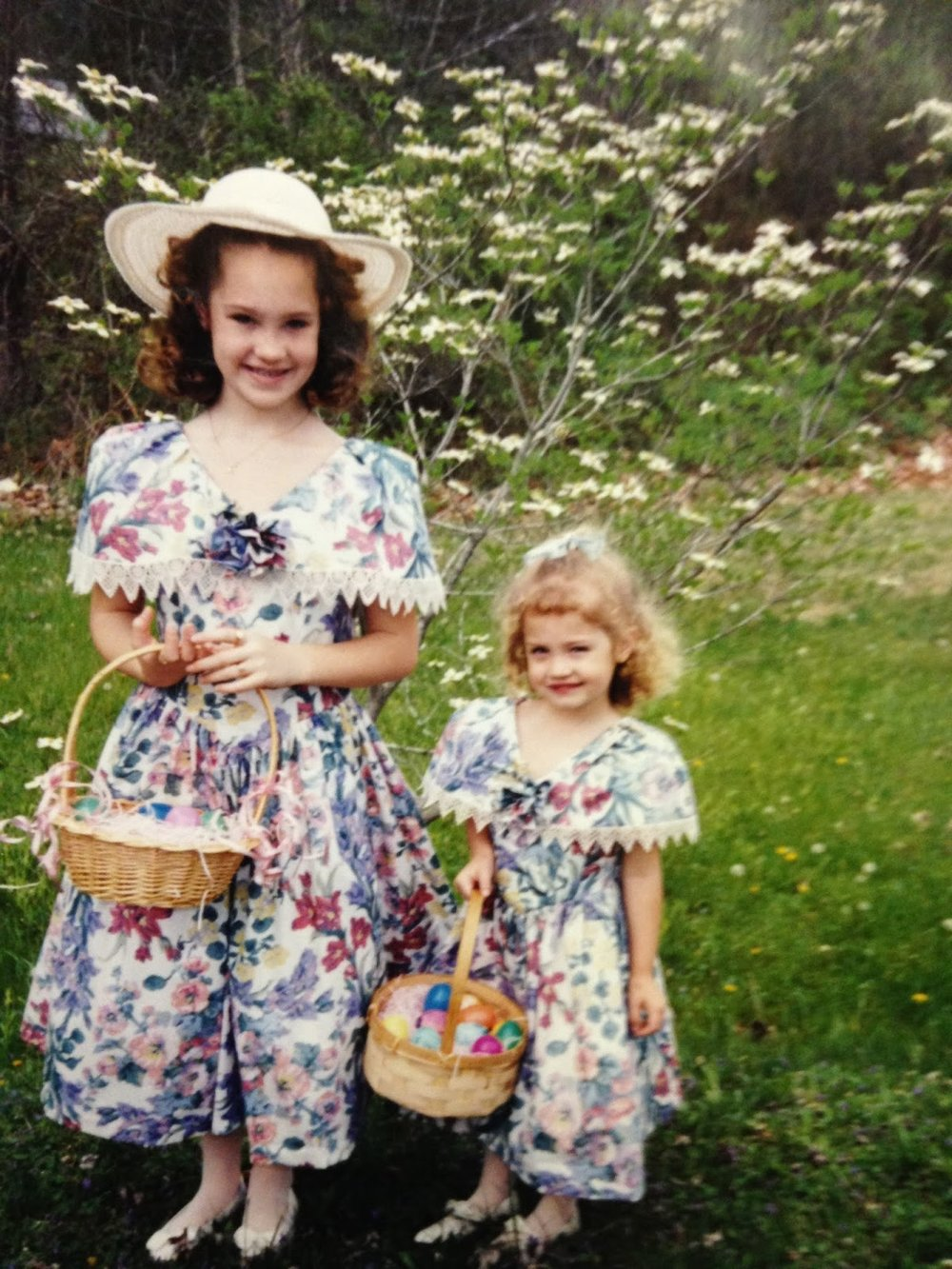 Emily and her younger sister in their Easter frocks.