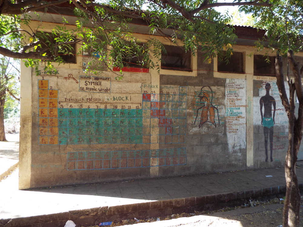 Paintings on the wall of the main school building