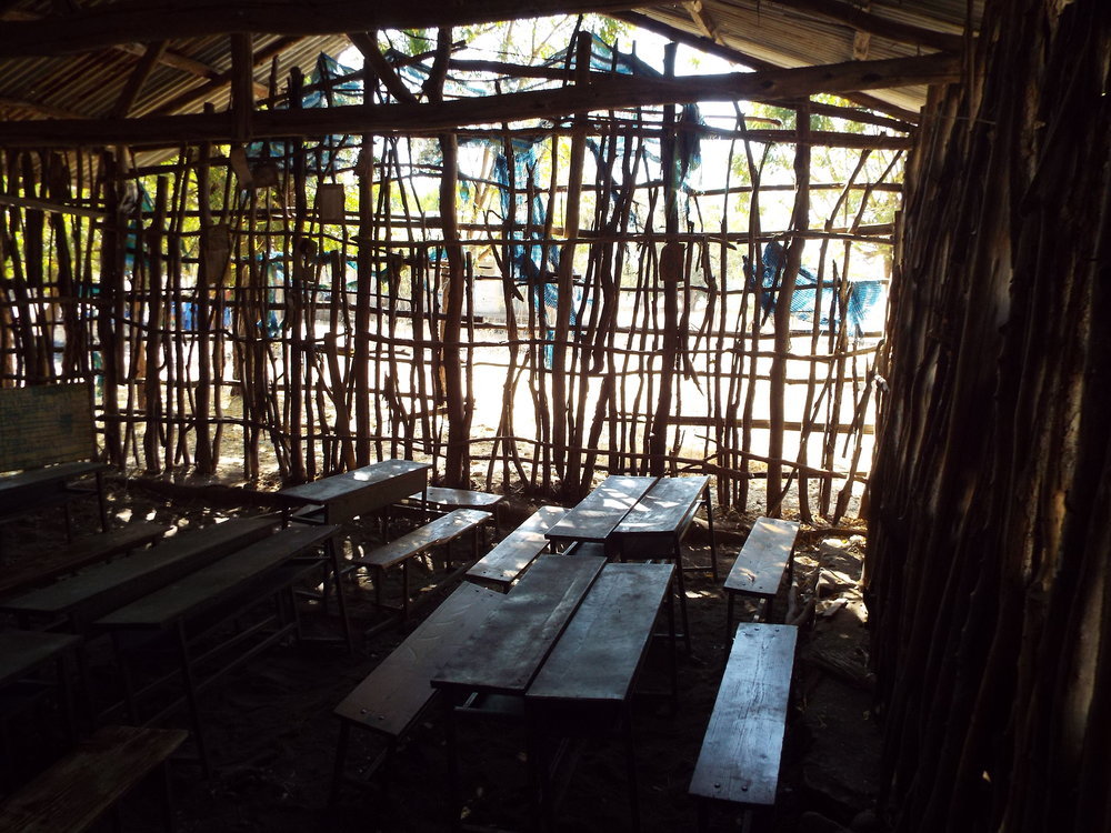 View from inside a classroom at Tumet General Primary School