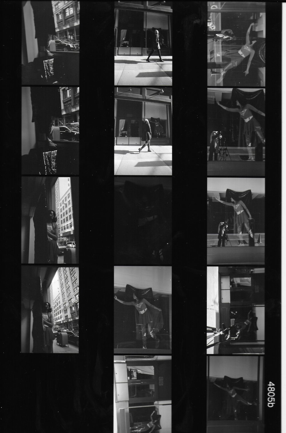 Haleigh Nickerson: Untitled Installation (2018), #33w17, New York, NY    Photograph by Cali D. Kurlan © 35mm black and white contact sheet scan