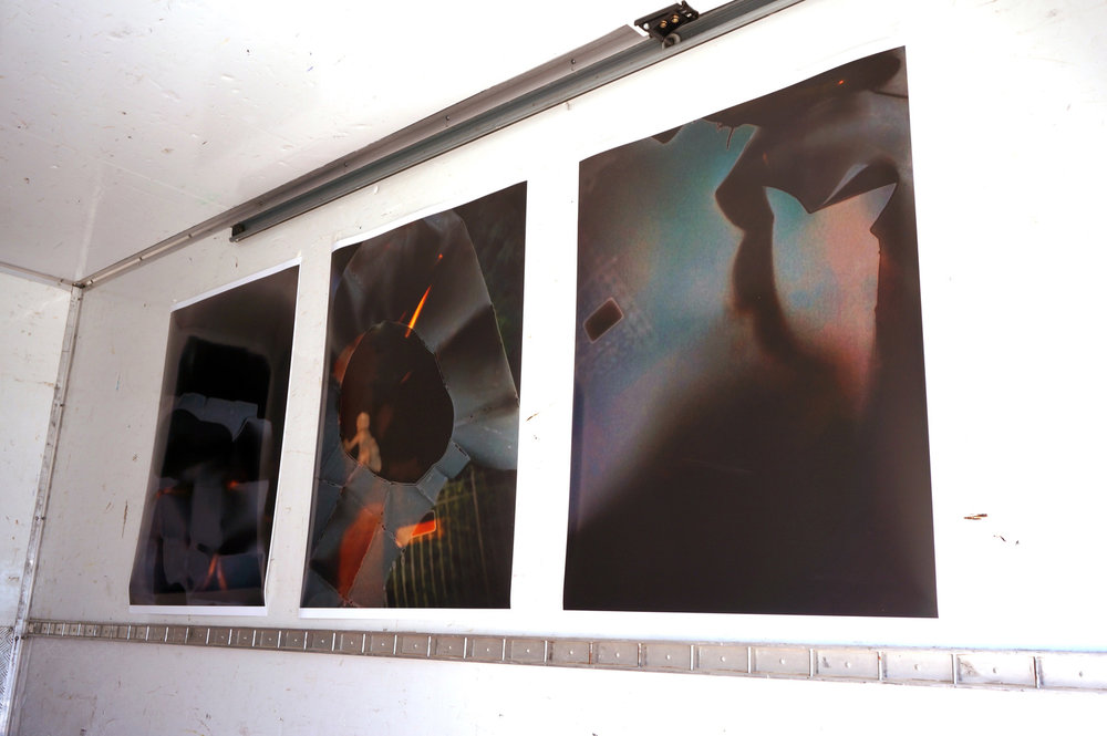 Deconstruction of Tantra; Tantra Symbol: Volkspark; Tantra Symbol: Volkspark 02    (Left to right) 2016, Pigment print, 78.5 x 102 cm   These images were installed in a pick-up truck that functioned as a makeshift gallery, (S)PACE. (S)PACE is an ongoing performative project that utilizes the ephemera of commercial galleries including press release write-ups and price lists, and is enacted through the artist performing in the role of the 'gallerina'. The project provides a manifesto which contextualize photographic work that is displaced in international exhibitions and group exhibition environments.  (click for past (S)PACE exhibitions)    ZK/U Open Studios Berlin, Germany