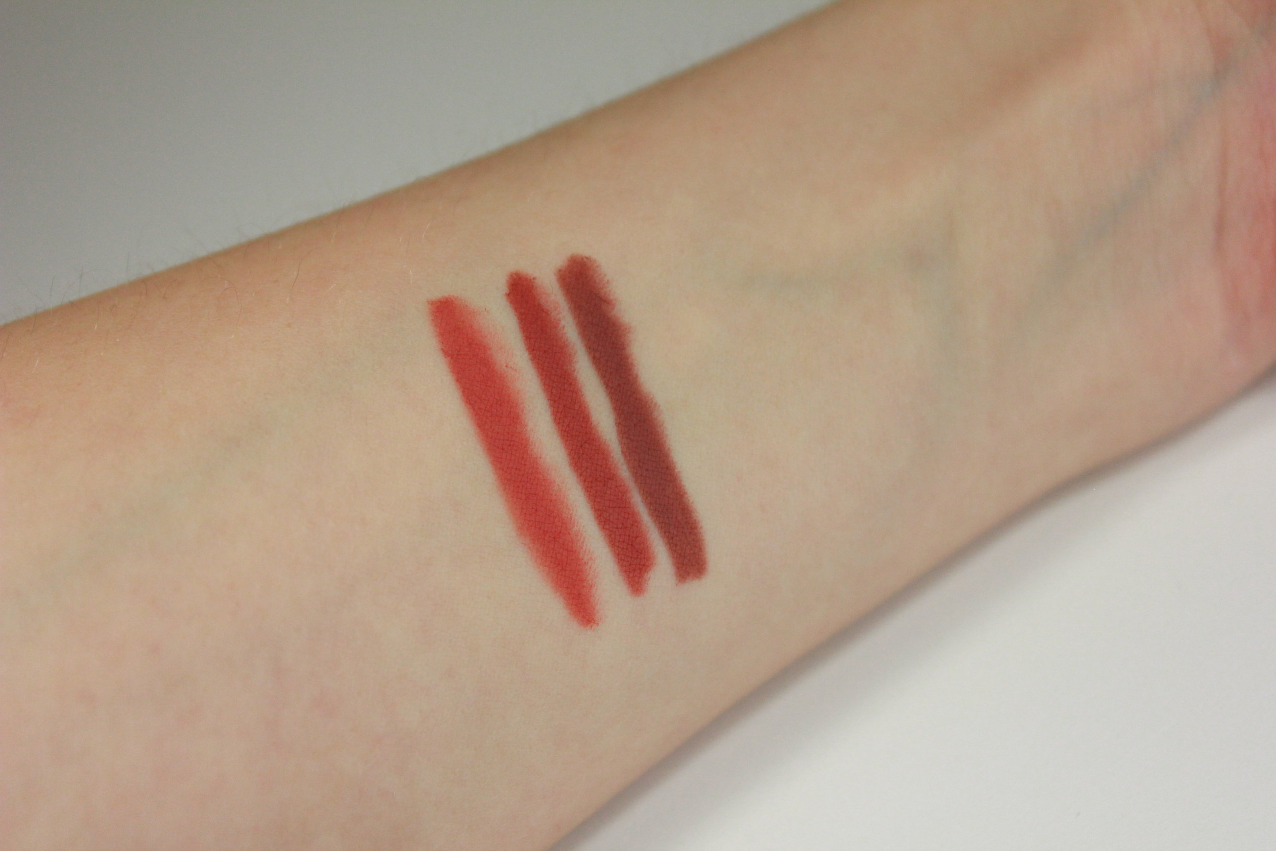 Colourpop Lippie Pencil Swatches; Frida, Brink, Bound