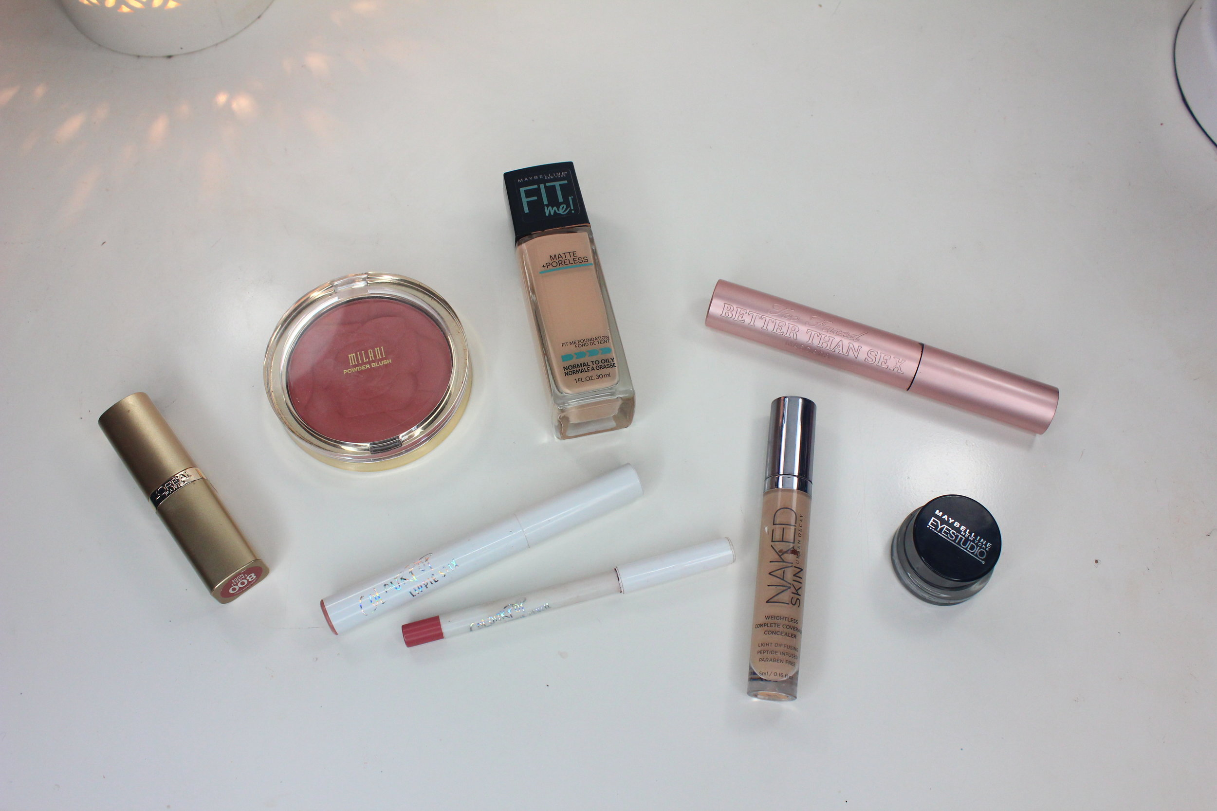 Makeup favorites - maybelline fit me, urban decay concealer, lipstick, colourpop, milani blush