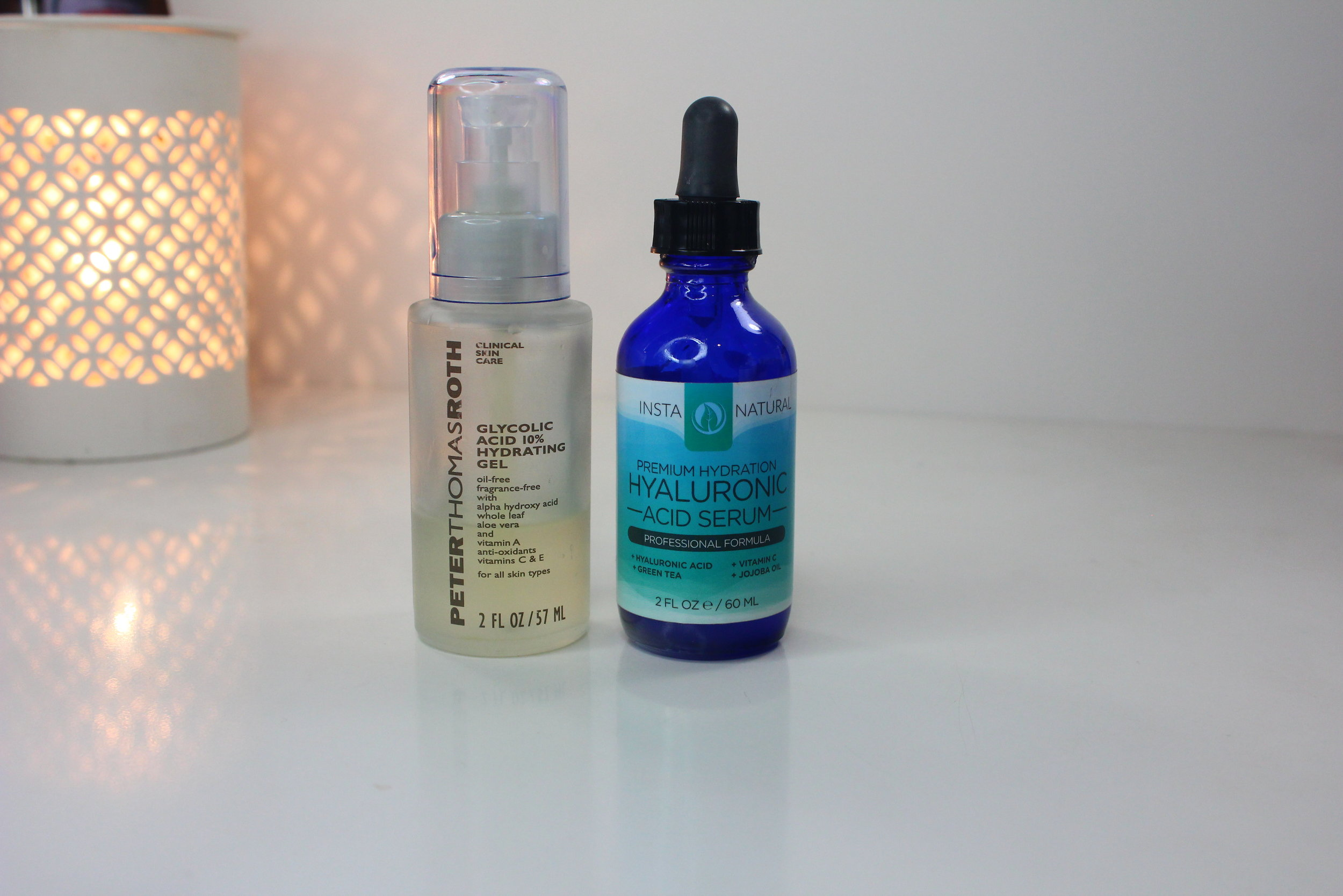 Peter thomas roth glycolic acid gel and insta naturals hylauronic acid serum