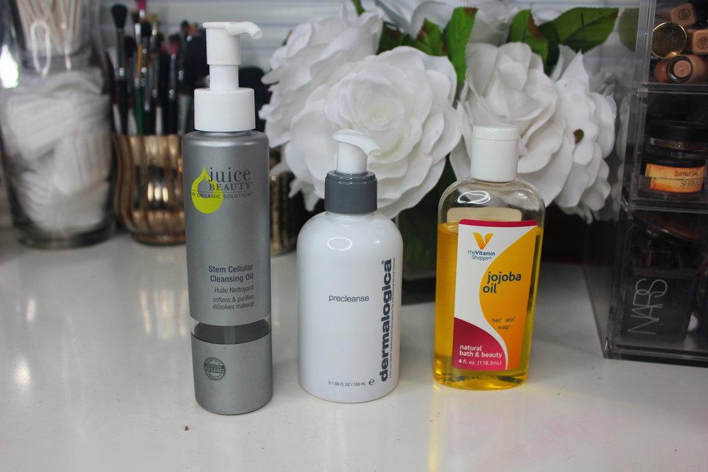 Cleansing OIls - Juice Beauty Stem Cellular, Dermalogica Precleanse, Jojoba Oil