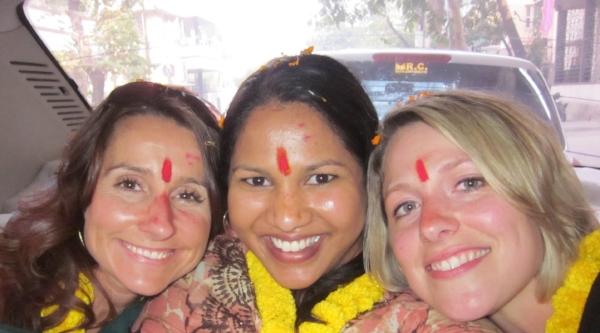 Nichole, Brie, and Kristi in Kolkata.