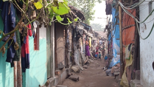 The Topsia slum in Kolkata where many of the students live.