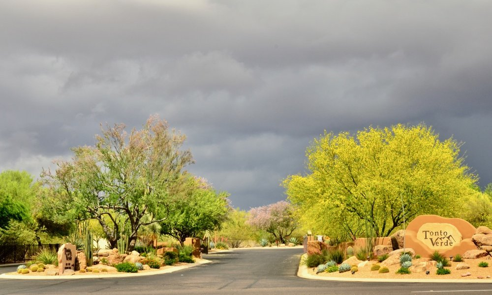 The main entrance to Tonto Verde…where we live. These threatening storm clouds lasted about 30 minutes. And then….poof…gone.