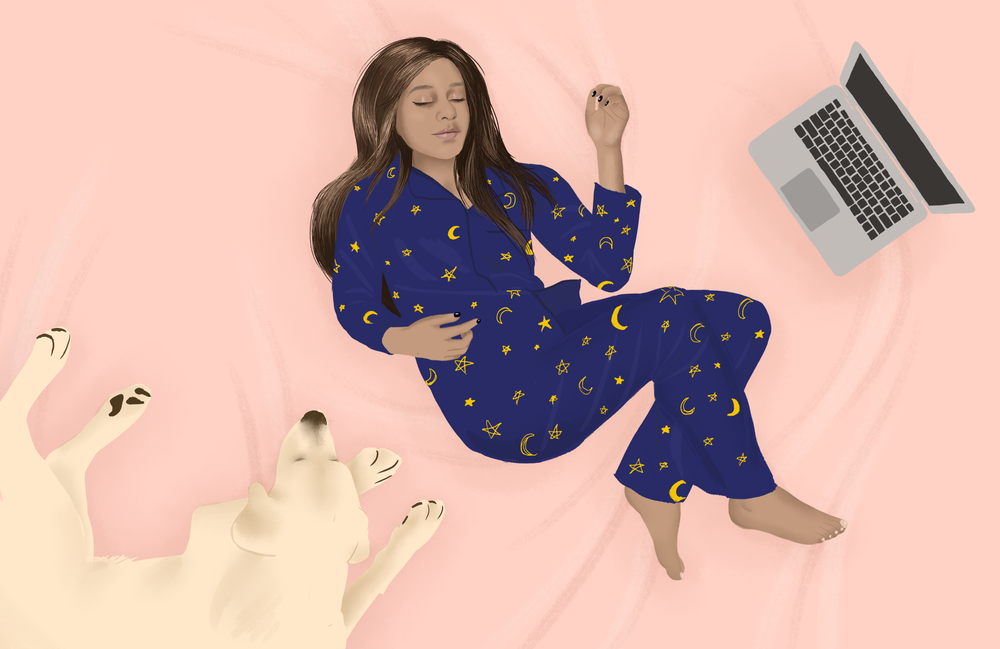 "Illustration for "" Why Matching Pyjama Sets Are The Secret To Feeling Like You Have Your Shit Together "" for BuzzFeed, 2018."