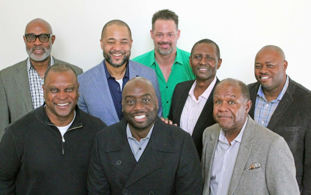 ALCF BOARD OF ELDERS   Front row (left to right): Keith Richardson, Trevor Speech, Carlton Saunders; Middle (L to R): Bryan Loritts, Archelle Funnié, Ezekiel Harvey; Back (L to R): Rocky Bridges, Glenn Posein