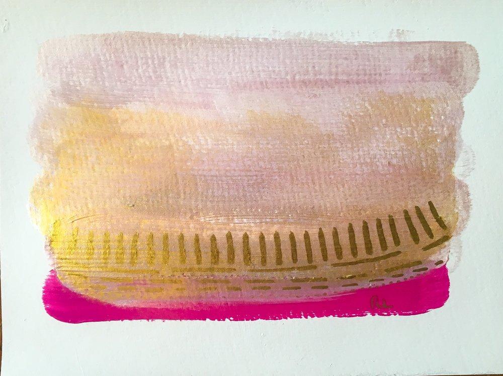 "Raining sunshine || #PCJ30in30 || 6x8"" || acrylics + paint pen on watercolor paper || Rachel Loewens"