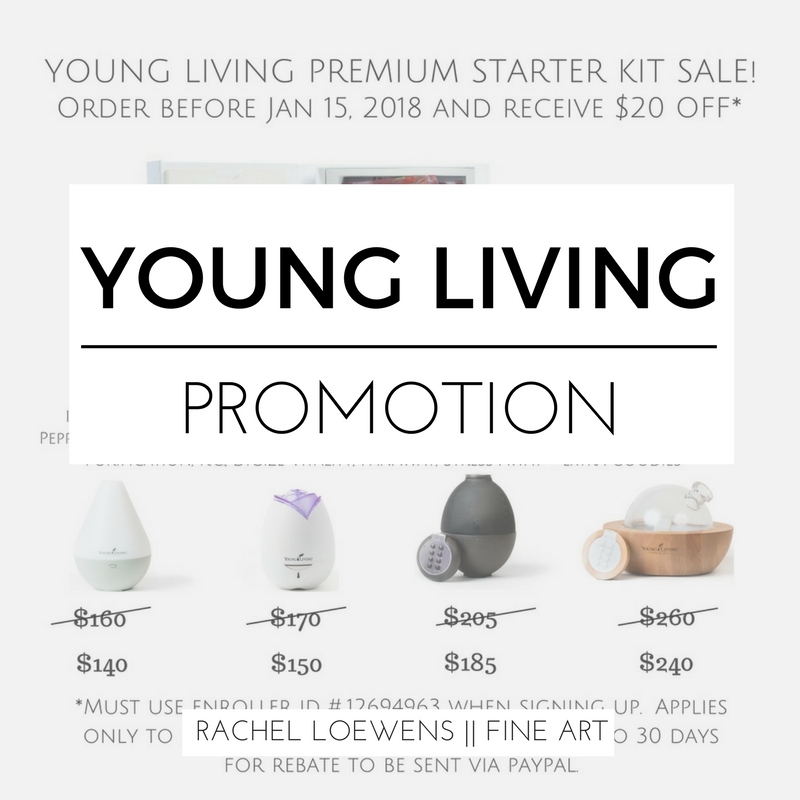 Young Living Essential Oils Promotion || $20 off || Rachel Loewens Fine Art