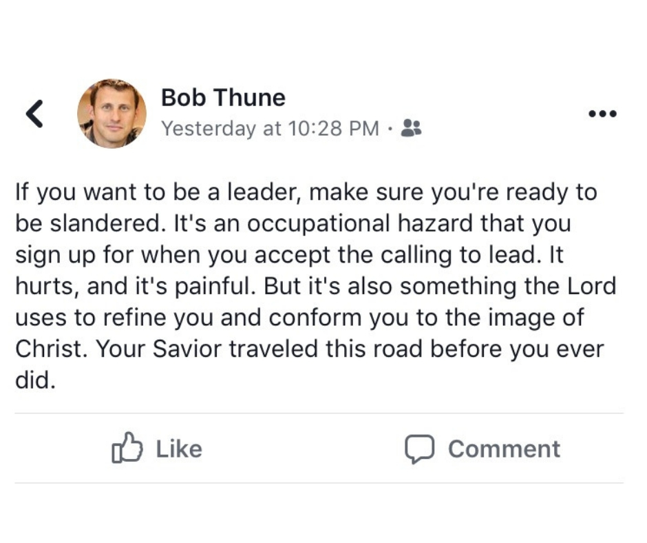 Bob Thune makes slander accusation on Facebook