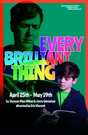 """Cover of the play """"Every Brilliant Thing"""" by Dunan Mac Millan & Jonny Donahoe."""