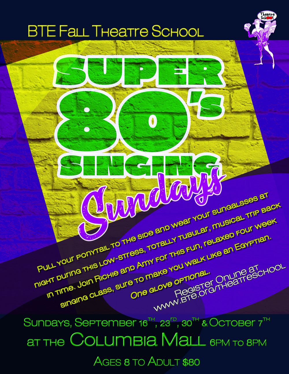 Super Singing Sundays   To register for classes,  click here    **Students MUST register online because of class limits. If you are unable to register online, please contact Amy at    amyrenebyrne@bte.org   .      Refunds will not be issued without a minimum of one week notice.
