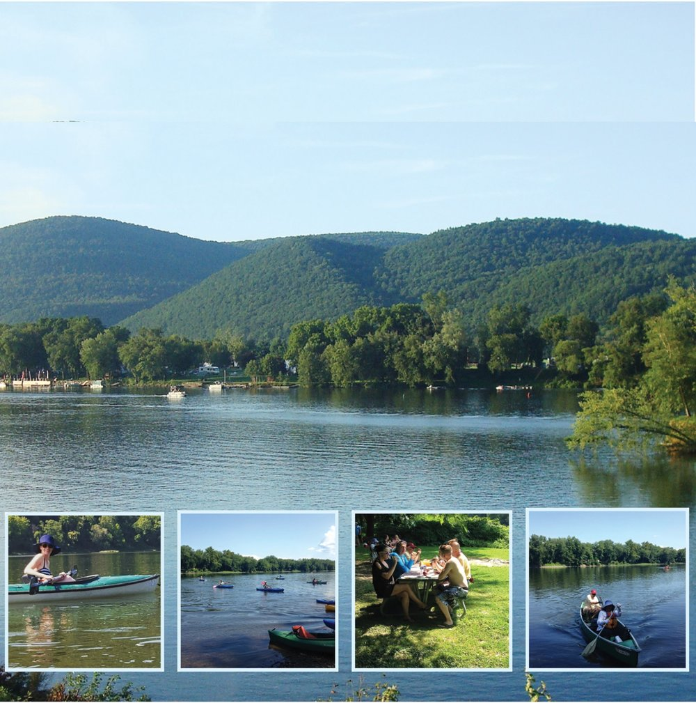 Image of views from Lime Ridge and people kayaking.