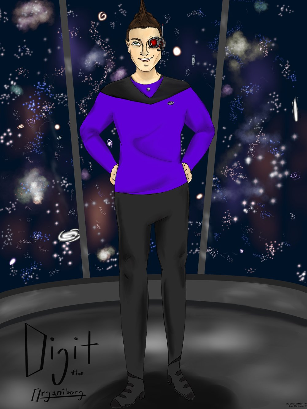 Half Human, Half Cyborg. Equal Parts Heart and Smarts. Digit helps the captain run the ship. She believes that space travel inspires new ways of thinking, imagining, and making friends. - Digit