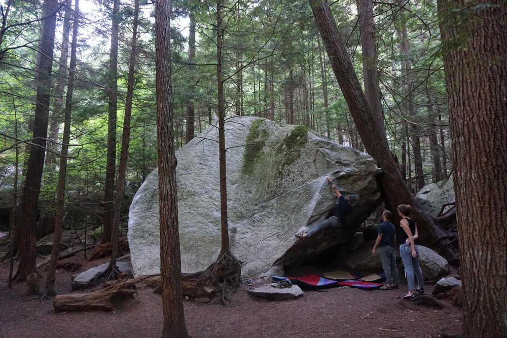 Exploring Roots co-founders, Adam Magers and Andrew Potter, along with Potter's wife, Alexis, bouldering in Squamish, BC.