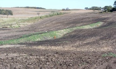 Sediment control basins help prevent gully washouts during large rain events.