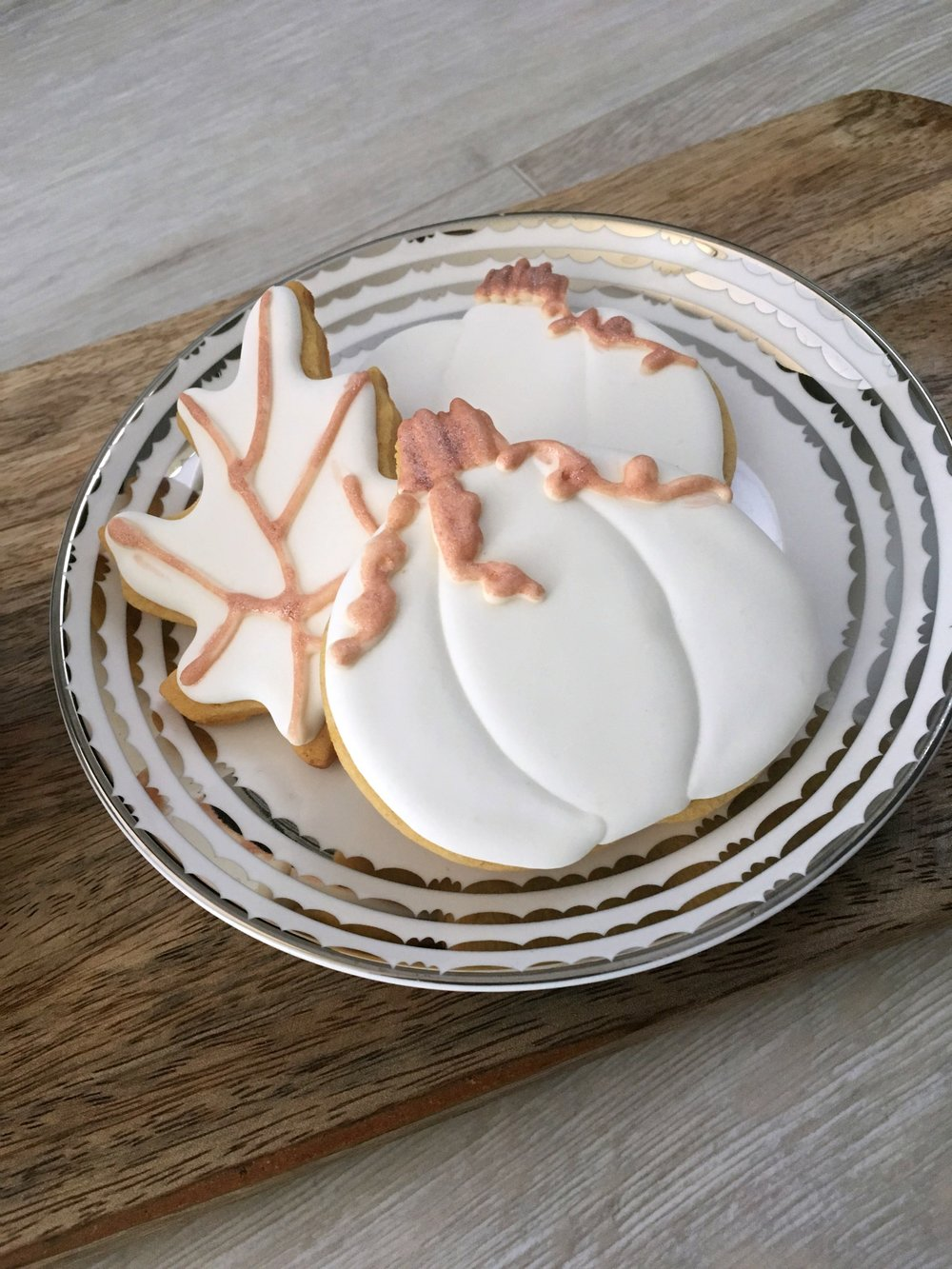 Gilded pumpkin and leaf sugar cookie decorating tutorial with royal icing